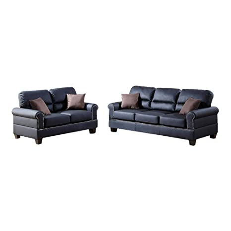 Marvelous Benzara Bm168791 Bonded Leather With Loveseat And Cushions Black Uwap Interior Chair Design Uwaporg