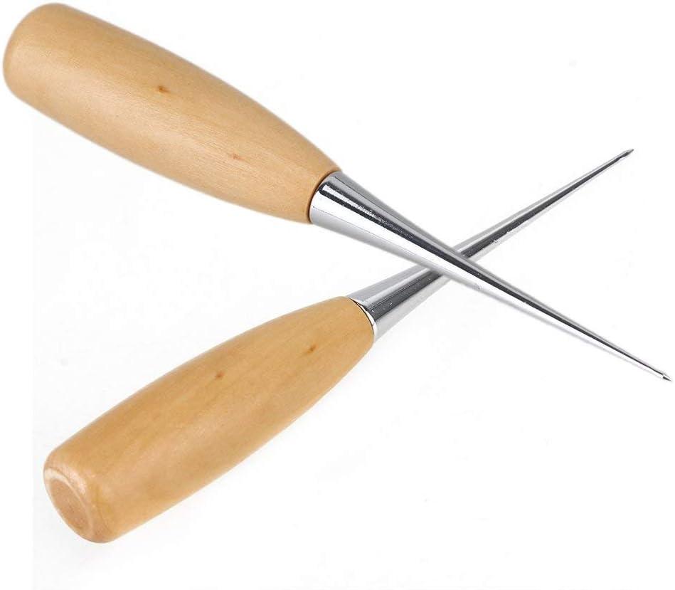 5pcs cuero artesan/ía costura sastre punz/ón costura encuadernaci/ón cuero perforaci/ón DIY herramienta mango madera