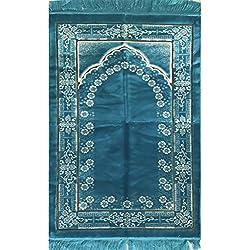 FREE Prayer Cap & Beads, Turquoise Blue Islamic Prayer Rug Janamaz - Plush Velvet BEST Quality