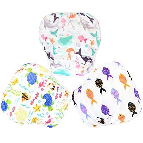 Langsprit 3 Pack Swim Diaper for Baby & Toddle,Reuseable Washable Diaper Swim for Swimming Lesson & Baby Shower Gifts (L, Sea Animal) from Langsprit