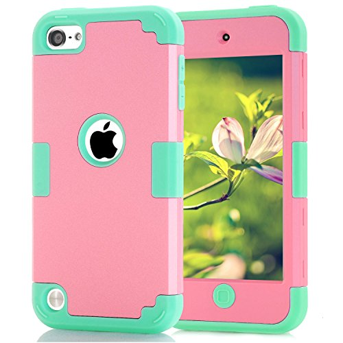 Case for iPod Touch 7 iPod Touch 6 Case, Silicone Shockproof Heavy Duty High Impact Armor Hard Case Cover for Apple iPod Touch 5th 6th 7th Generation (Pink+Green)