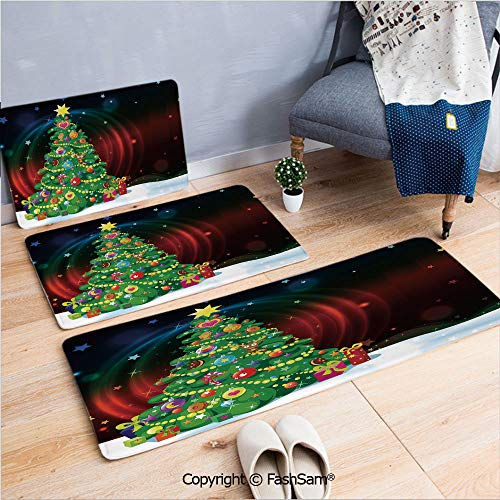 FashSam 3 Piece Flannel Doormat Colorful Funny Decorated Xmas Tree Abstract Backdrop with Stars Presents Cartoon for Kitchen Rugs Carpet(W15.7xL23.6 by W19.6xL31.5 by -