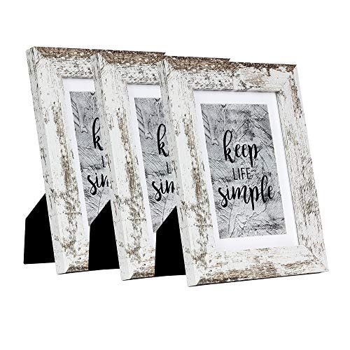 Home&Me 5x7 White Picture Frame 3 Pack - Made to Display Pictures 4x6 with Mat or 5x7 Without Mat - Wide Molding - Wall Mounting Material Included