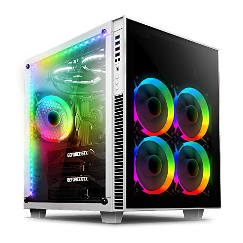 anidees AI Crystal Cube V2 Dual Chamber Tempered Glass EATX/ATX PC Gaming Case with 5 RGB Fans / 2 RGB LED Strips AR2 Version - White AI-CL-Cube-W-AR2 (5 Mm Tempered Glass)