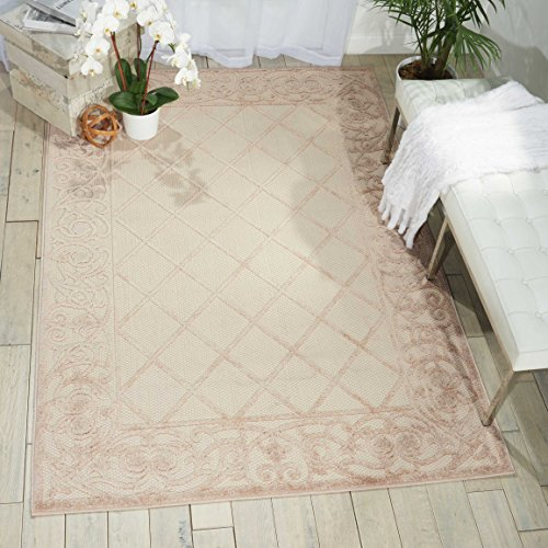 """Nourison Aloha ALH16 Cream Indoor/Outdoor Area Rug  9 Feet 6 Inches by 13 Feet, 9'6""""X 13',"""