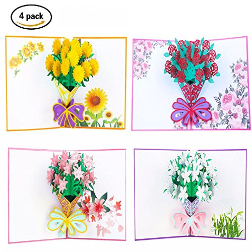 Friends Stationery (Flower 3D Pop up Greeting Cards with Envelope Stickers - Mother Day Gifts Handmade Lilies, Roses, Sunflowers, Gardeniasse for Birthday, Wedding, Graduation, Thank You, Anniversary Elegant Holiday Card)