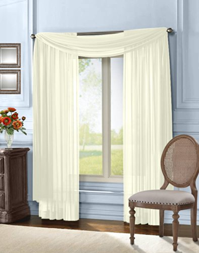 """HLC.ME Sheer Curtain Window Panel - 55"""" x 216"""" inch Long (Scarf, Ivory)"""