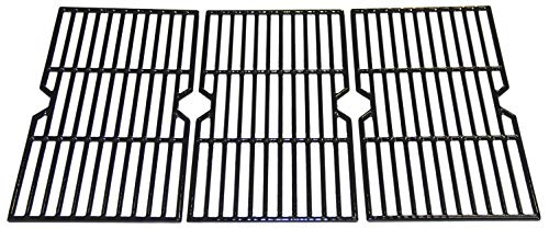 VICOOL hyG117C Glossy Porcelain Coated Cast Iron Cooking Grid Grates Replacement for Select Charbroil 463344015 Gas Grill, Set of -