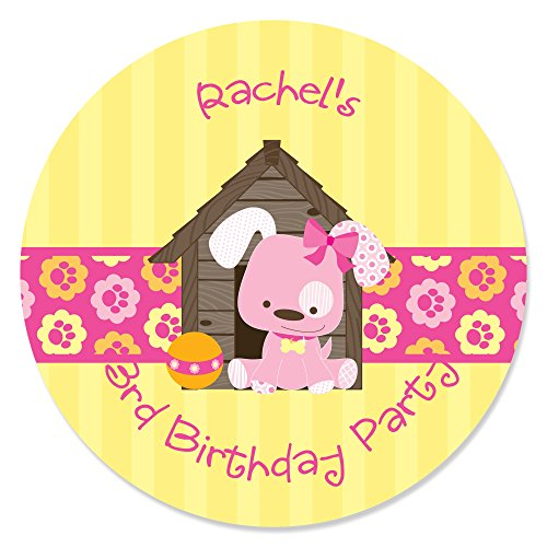 Custom Girl Puppy Dog - Personalized Baby Shower or Birthday Party Circle Sticker Labels - 24 Count ()