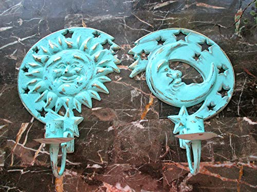 Candle Holders, Wall Candleholders, Upcycled Vintage, Distressed, Wall Sconces, Nursery Room Decor, Sun and Moon Decor, Brass