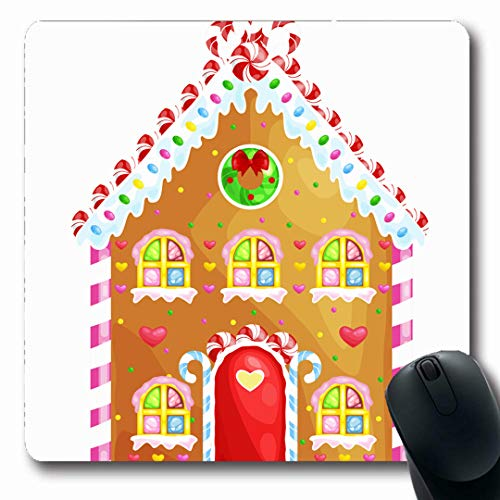 Ahawoso Mousepads Childhood Brown Gingerbread House Decorated Candy Icing Cake Sugarchristmas Food Drink Holidays Oblong Shape 7.9 x 9.5 Inches Non-Slip Gaming Mouse Pad Rubber Oblong Mat -