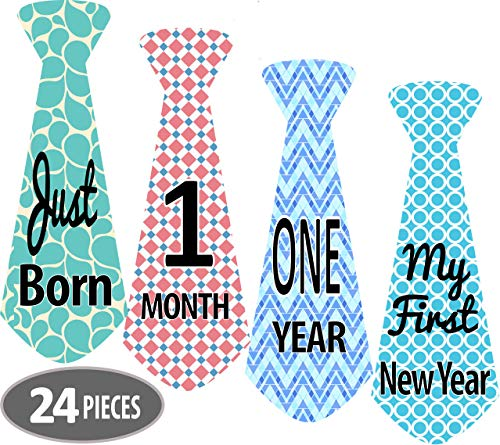 Mesmerico 24 Baby Monthly Holiday Tie Necktie Stickers - Baby Boy First Year Month Age Growth Milestones - Month Stickers for Baby Onesie Belly Stickers - Great Shower Registry Newborn Gifts -