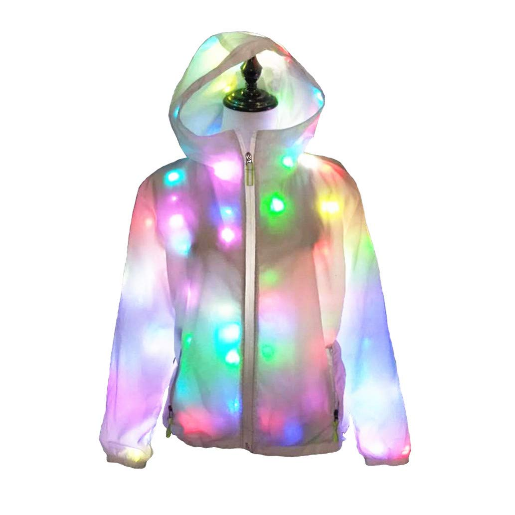 Light up Plus Size Baseball Jacket Glowing Women Men Hooded Party Led Costume Coat (2XL(Height 175-180cm))