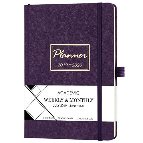 Planner 2019-2020 - Academic Weekly & Monthly Planner with Tabs + Saffiano Leather with Pen Holder, 5.75