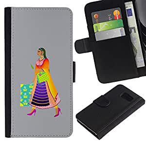 WonderWall ( No Para S6 EDGE ) Fondo De Pantalla Imagen Diseño Cuero Voltear Ranura Tarjeta Funda Carcasa Cover Skin Case Tapa Para Samsung Galaxy S6 SM-G920 - una mujer india moderna, tan colorido
