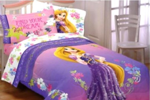 Princess Rapunzel Bedding Set Tangled, padded Duvet Cover with matching 3pc  Sheet Set, Single