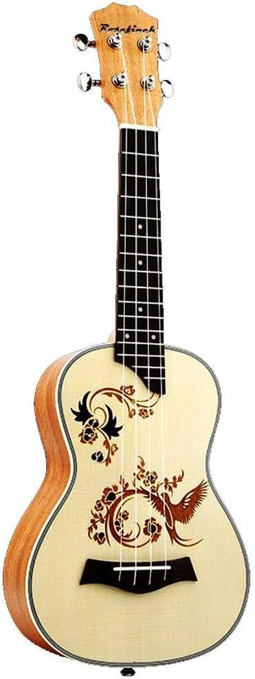 QLJ08 Ukelele de concierto de 23 pulgadas 4 cuerdas de nylon mini guitarra Uku acústico Ukelele Spruce con buen tallado