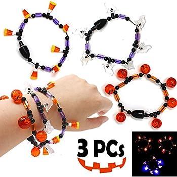 Amazon Com Joyin 3 Pack Led Light Up Halloween Bracelets