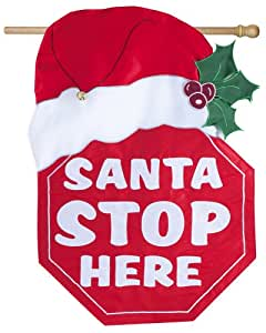 Evergreen Enterprises 15FB012 Regular Fiber Optic Flag - Santa Stop Here