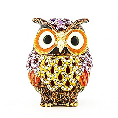 Waltz&F Hollow owl Trinket Box Hinged Hand-painted Figurine Collectible Ring Holder with Gift Box
