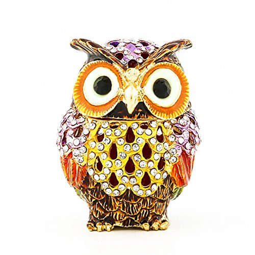 Waltz&F Hollow owl Trinket Box Hinged Hand-painted Figurine Collectible Ring Holder with Gift Box Collectible Hand Painted Figurine