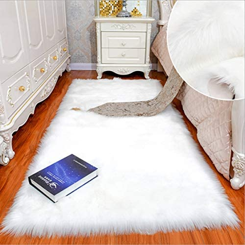 Shaggy Soft Faux Sheepskin Fur Area Rugs Floor Mat Luxury Bedside Carpet for Bedroom Living Room White,4x6ft