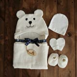 Bimboly Luxury Hooded Baby Towel and Washcloth Set (Ivory) | Extra Soft Mix of Organic Bamboo and Cotton for Infant, Toddler, Newborn and Kids | Great for Boys and Girls at Bath, Pool or Beach
