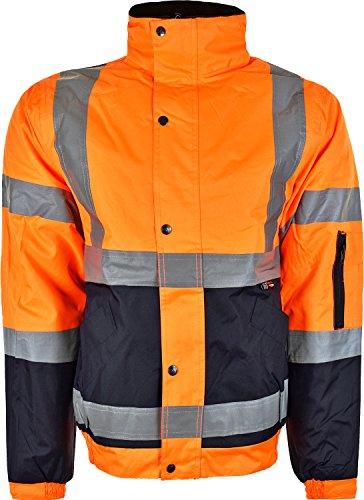 visibilidad chaqueta invierno hombre Chaqueta acolchada de alta de para cálida Naranja Bomber IEvvqHw0x