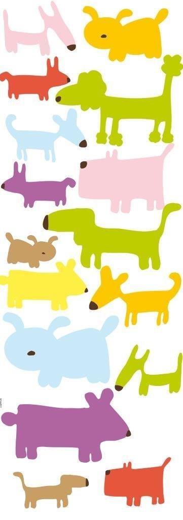 PLAGE 152529 Adesivi murali - stickers per i bambini - Cani, 1 Foglio, 24 x 68 cm