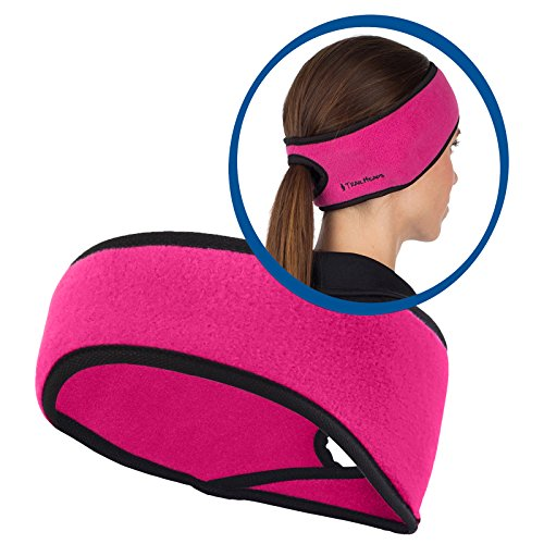 TrailHeads Women's Ponytail Headband - Made in the USA - 7 colors (Extra Wide Fleece Binding)