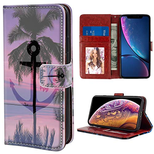 YaoLang iPhone Xr Wallet Case, Anchor Palm Tree PU Leather Standable Wallet Phone Case with Card Holder Magnetic Hold for iPhone Xr