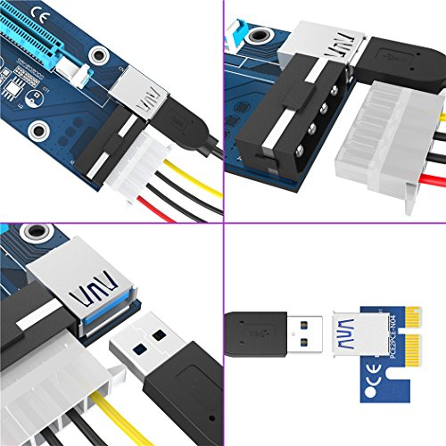 [6-Pack] VICTONY 4 Pin PCIe Riser Mining Card PCI-E 16x to 1x Powered Riser Adapter Card w/60cm USB 3.0 Extension Cable & MOLEX to SATA Power Cable-GPU Riser Extender Cable- Ethereum Mining ETH by VICTONY (Image #7)