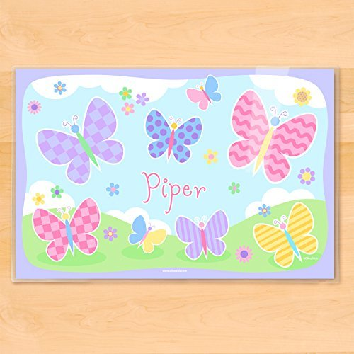 Personalized Placemat - Olive Kids Personalized Butterfly Garden Placemat, 18 Inch by 12 Inch, Laminated