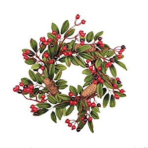 Transer- Pine Cone Fruit Fall Front Door Wreath, 16 Inches Decorative Leaves & Flowers, Merry Christmas Party Thanksgiving Door Wall Garland Decoration 8