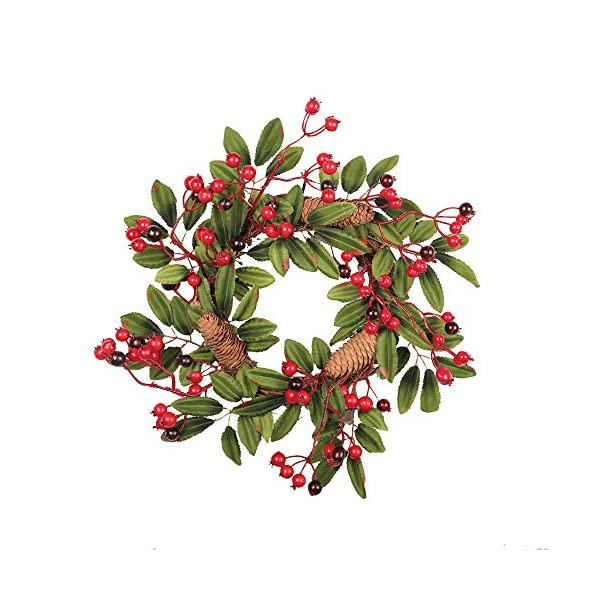 Transer- Pine Cone Fruit Fall Front Door Wreath, 16 Inches Decorative Leaves & Flowers, Merry Christmas Party Thanksgiving Door Wall Garland Decoration (Multicolor)
