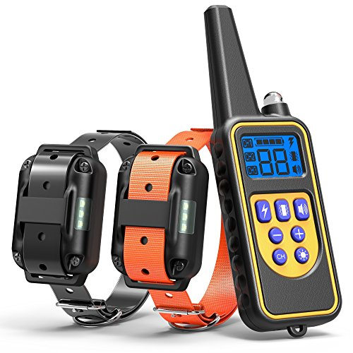 Dog Training Collar, Cambond Dual Dog Shock Collar with Remote 2600ft Control Waterproof Electronic Dog Collar for Medium and Large Dog with 4 Training Modes Light Shock Vibration Beep