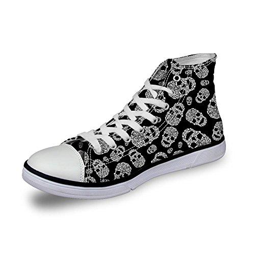 Para U Diseños Punk Skull Hombres Canvas Zapatos Zapatillas De Deporte Con Cordones Para Caminar Al Tobillo Tallas Grandes Skull-2