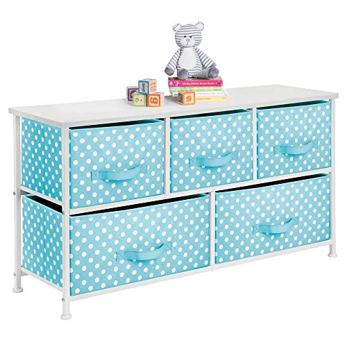 mDesign 5-Drawer Dresser Storage Unit - Sturdy Steel Frame, Wood Top and Easy Pull Fabric Bins in 2 Sizes - Multi-Bin Organizer for Child/Kids Bedroom or Nursery - Turquoise Blue with White Polka Dots