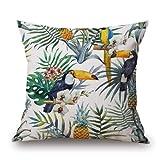 MAYUAN520 Cushion、Decorative Pillows Tropical Plant Hibiscus Flowers Bird Home Decorative Pillows Sofa Seat Back Cushion Cover 45Cm Pillow Case Linen,450Mm450Mm,Light Green