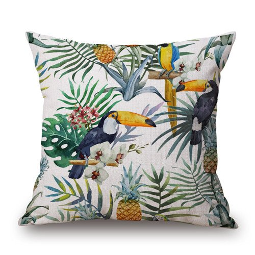 MAYUAN520 Cushion、Decorative Pillows Tropical Plant Hibiscus Flowers Bird Home Decorative Pillows Sofa Seat Back Cushion Cover 45Cm Pillow Case Linen,450Mm450Mm,Light Green