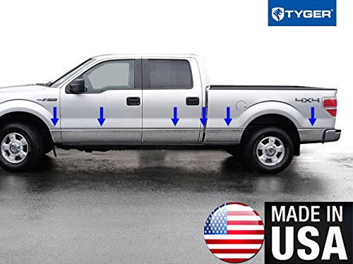 Made in USA! Works with 2009-2014 Ford F-150 Crew Cab Long Bed W/O Fender Flare Rocker Panel Chrome Stainless Steel Body Side Moulding Molding Trim Cover 7