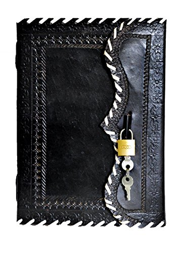 """10"""" Genuine Leather Journal Vintage Antique Style Organizer Blank Notebook Secret Personal Diary with Lock And Key Day Planner Classic Black Color Handmade Travel Diary Perfect Gift for Men Women"""