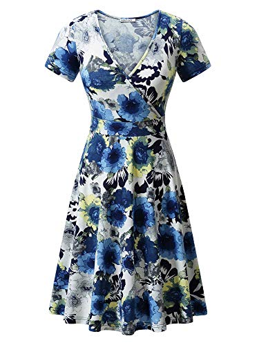 Little Wrap Dress - MSBASIC 90 Floral Dress Faux Wrap Dresses for Women Blue Flowers S