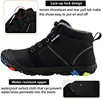 Spesoul Kids Winter Warm Snow Boots Outdoor Fur Lined Lightweight Ankle Booties Sneakers Shoes for Girls Boys