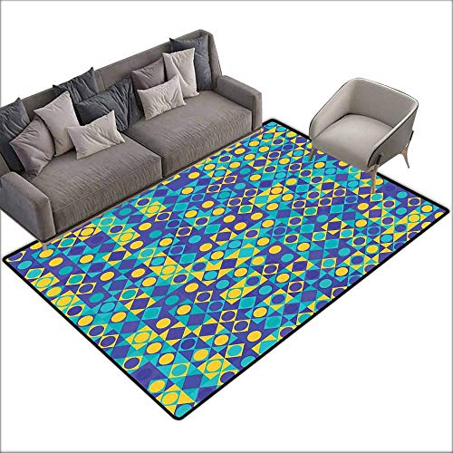 Inner Door Rug Yellow and Blue Circles Squares and Triangles Mosaic Pattern with Dots Vibrant Easy to Clean W6' x L7'10 Purple Sky Blue Yellow