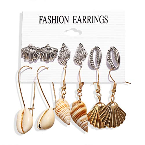 (Women Earrings Set Metal Dangle Enamel Ocean Starfish Conch Shell Earrings Jewelry Accessories (B))
