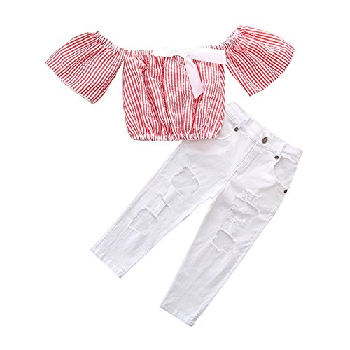 OUTGLE Little Girl Clothes Toddler Girl Stripe Off Shoulder Crop Top + Denim Holes Jeans Summer Outfits Set by OUTGLE
