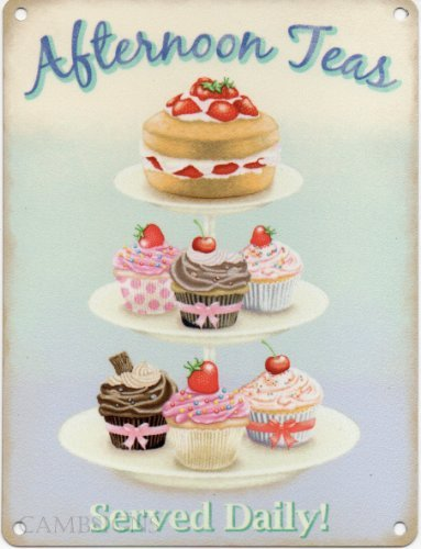 DominicaVwesk Afternoon TEAS Served Daily! Metal Enamel Advertising Sign (Small (Enamel Advertising Sign)