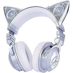 Brookstone Ariana Grande - Auriculares inalámbricos para gato con altavoz externo, micrófono Bluetooth y acentos que cambian de color