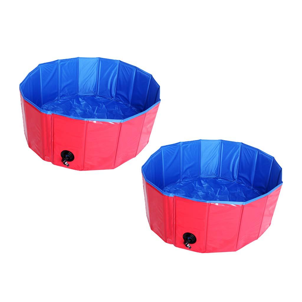 Homyl Pack of 2, Extra Large Foldable Dog Pet Pool Bathing Tub Red (31.5 Inch X 11.81 Inch)